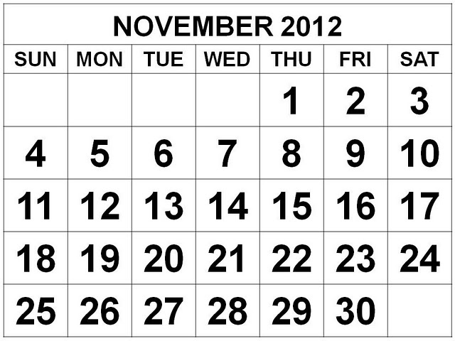 November 2012 Monthly Expenses